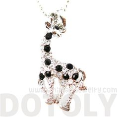 Classic Giraffe Shaped Rhinestone Animal Pendant Necklace in Silver $10 #giraffes #animals #jewelry #necklace #pendant #cute