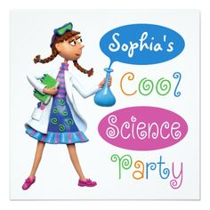 Science Birthday Party Invitations Cool Science Birthday Party for Girls Card