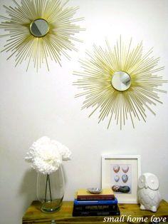 Diy Sunburst Mirror {Tutorial}  Mirror ($1 @dollar tree) Bamboo Skewers ($2) Cardboard (free) Spray Paint ($5) Hot Glue Gorilla Glue Ring Hangers
