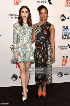 Actors Lily Collins (L) and Tessa Thompson attend the Film Independent 2018 Spirit Awards press conference at The Jeremy Hotel on November 21, 2017 in West Hollywood, California.