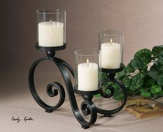 Uttermost Aria Black Crackle Candleholder. Black Crackle Metal Stands With Gray Glaze And Clear Glass Globes. Distressed Beige Candles Included.