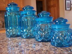L.E. Smith Moon and Stars Colonial Blue Canister set
