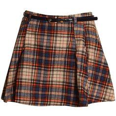 Tartan Print Belted High Waisted Skater Skirt in Orange/ Blue ($15) ❤ liked on Polyvore featuring skirts, bottoms, faldas, circle skirt, brown skirt, high waisted skirts, brown skater skirt and flared skirt