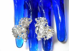 Rhinestone Cluster Earrings Clear Layered Multi Sized Stones Clip On 1950s Bling Wedding Hollywood Regency Mid Century Retro by FindCharlotte on Etsy