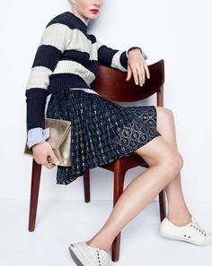 J.Crew women's perfect cable sweater in stripe, Thomas Mason® for J.Crew collarless tuxedo shirt in stripe, mini skirt with grosgrain ribbon, leather envelope clutch in crackled gold foil and SeaVees® for J.Crew 06/67 Monterey sneakers in white leather.