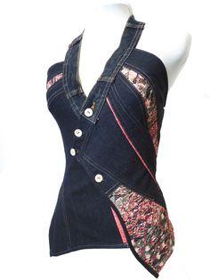 """Bustier/corset élégant jean noir et dentelle colorée""""Paulette"""" T38-40"""