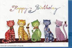 süße Mietzen wünschen #HappyBirthday www.der-schreibladen-shop.de #Glückwunschkarten #Grußkarten #Postkarten #postcrossing