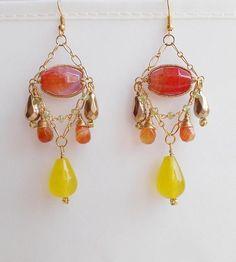 Clotilde gemstone chandelier earrings yellow orange long
