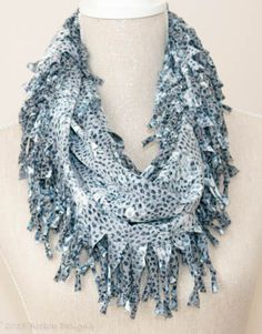 Grey, White & Blue Animal Print Short Knotted Cowl Scarf