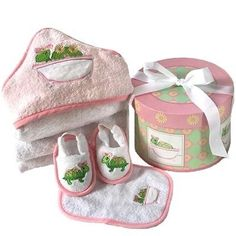New Baby Girl Bath Time Gift Set in Keepsake Box - Great Shower Gift Idea for Newborns