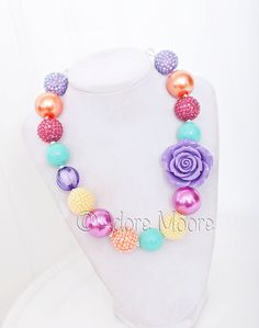 Easter Bloom Rose Necklace Spring Chunky by AdoreMooreBoutique, $22.00