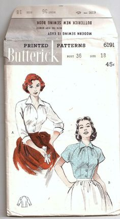 Vintage 1950s Gathered Shoulder Blouse Soft Details Pattern Size 18 Butterick 6191