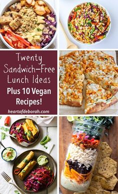 List of 20 sandwich free lunch ideas for kids and adults. 10 delicious vegan recipes included! Recipes to get you out of your comfort zone and help you with back to school lunch ideas.