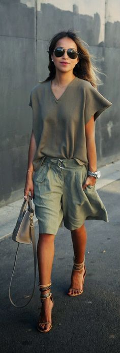 Green on Green - sweatshirt and culotte shorts or isabel marant shoes / Sincerely Jules