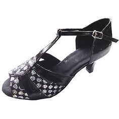 Customized Women's Satin And Sparking Glitter Dance Shoes For Latin/Ballroom Sandals - USD $ 44.99