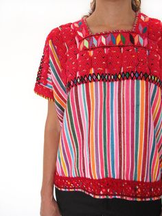 Traditional Vintage Huipil | Candy Stripes | Only one piece made, handwoven and hand embroidered www.chiapasbazaar.com