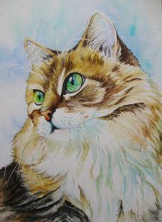 "Aquarell - Original Aquarell ""Katze..mit grünen Augen"" (2015) - ein Designerstück von Aranka-1 bei DaWanda"