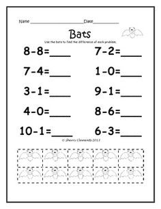 Subtraction Problems (from 10) with Manipulatives - October - Common Core - 6 pages - Addition problem with manipulatives and Addition and Subtraction word problems also availablel - kindergarten and first grade subtraction  $