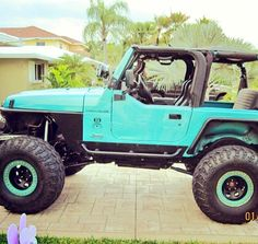 Cool color, I'm considering repainting my Jeep a blue like this.