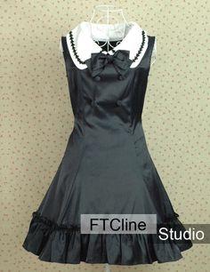 Lolita Dress Black Cotton Sleeveless Bowknot White Collar #lolita #dress