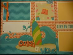 Catch a Wave Premade 12x12 Scrapbook Pages for the Beach Boy GIRL SUMMER. $14.99, via Etsy.