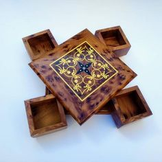 this wooden secret box is for storing valuables such as jewelry and important papers, is not easy to open, except for those who know the right way to open it.  This piece is made of Thuya wood for storage jewelry and a small objets. It is wooden puzzle Box ,found in the Thuya trees grown in Wooden Puzzle Box, Wooden Puzzles, Wooden Boxes, Pouf Cuir, Secret Box, Wooden Decor, Smell Good, Organizer, Little Gifts