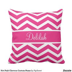 Hot Pink Chevron Custom Name