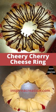 Cheery Cherry Cheese Ring by Inspire a Creation takes a package of crescent rolls and makes something beautiful and delicious. Pie filling, cream cheese, powdered sugar and chocolate drizzle makes it all come together. This one makes a very pretty presentation, plus it tastes heavenly. For the holidays or any day of the year. #cherry #crescentrolls #pastry #easyrecipe #inspireacreation Breakfast Bread Recipes, Easy Brunch Recipes, Best Dessert Recipes, Easy Desserts, Pie Pastry Recipe, Pastry Recipes, Cheese Ring, Easy Pie, Chocolate Drizzle