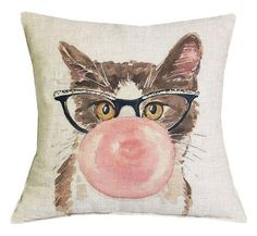 Lovely Brown Cat With Pink Bubble and Black Glass Pillow Case