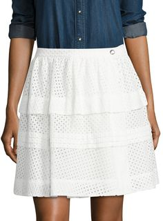IRO Women's Gaetane Cotton Tiered Eyelet Skirt