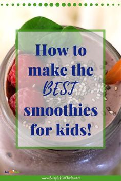 Healthy smoothies are one of the best ways to get your toddlers and picky eaters eating more protein fruits and vegetables. They're easy to make and great for breakfast lunch or a yummy snack. Smoothies For Kids, Good Smoothies, Breakfast For Kids, Breakfast Ideas, Paleo Smoothie Recipes, Flaxseed Smoothie, Yummy Healthy Snacks, Little Chef, Easy Baking Recipes