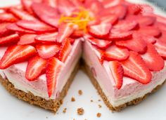 No-bake, gluten-free, Strawberry and Vanilla Cheesecake. Show stopping summer dessert for very little effort!