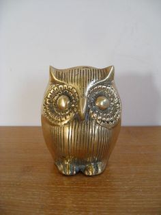 Vintage brass owl three inches tall by Sweetpotatojack on Etsy, $13.50