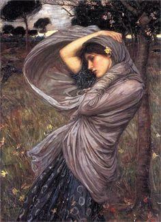 John William Waterhouse - Oreithyia about to be abducted by Boreas. Tags: oreithyia, oreithyeia, boreas, winds,