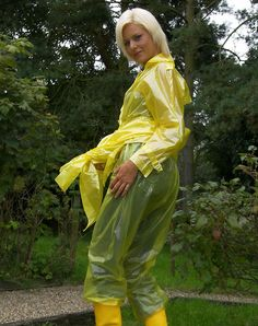 Vinyl Raincoat, Plastic Raincoat, Pvc Raincoat, Yellow Raincoat, Plastic Mac, Vinyl Clothing, Rain Suit, Walking In The Rain, Rain Wear