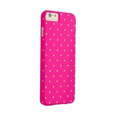 Hot Pink Gold Glitter Small Polka Dots Pattern Barely There Iphone 6... ($50) ❤ liked on Polyvore featuring accessories and tech accessories