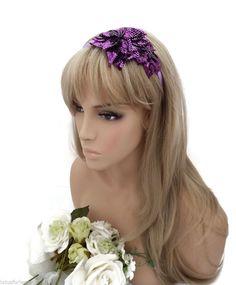 Beautiful Purple Sequin Beaded Flower Design Satin Headband Fascinator Tiara