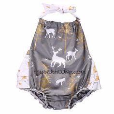 485b6af4db9 Newborn Girl s Romper Gray White Gold Woodlands Animals Deer Doe Fox Trees  Ruffled Bottom 0