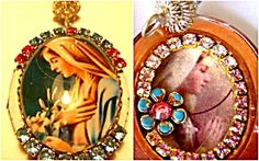 $108 Shrine Pendant- Vintage silver filigree bail, Large oval glass cabochon cameo depicting our lady the Blessed Mother, Virgin Mary holding lillies. Sky blue and deep pink rhinestones and baby blue enamel. Inside Clear and light pink rhinestones surround another image of Mary. There is a blue enamel flower with pink crystal center accenting this picture.  The other side is for your personal picture or prayer request to Our Lady.