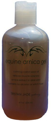 Equine Arnica Gel by Tristan Jade Apothecary. Save 10 Off!. $17.99. non-sticky, penetrates coat. speeds healing and eases pain. mild carrot seed oil scent for calming aromatherapy. 24% arnica solution in aloe vera. great for swelling, bruising, minor burns, sore muscles. Equine Arnica Gel combines the soothing properties of natural aloe vera with the unique healing and therapeutic benefits of arnica to help prevent and alleviate muscle soreness, stiffness and bruising. Helps relieve ...