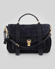 PS1 Medium Suede Satchel Bag, Navy by Proenza Schouler at Bergdorf Goodman.