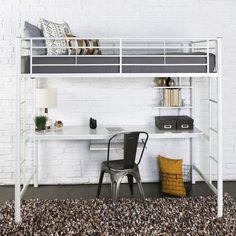 Walker Edison White Metal Twin Workstation Bunk Bed