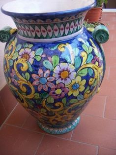 hand painted vase. available on demand. H 22 inches.