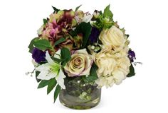 "13"" Roses & Hydrangea in Bucket, Dried 