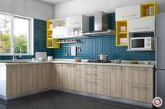 Looking for small kitchen backsplash ideas? Small Kitchen Backsplash, Kitchen Wall Tiles Design, Tile Design, Interior Design Kitchen, Kitchen Cabinets, Kitchen Wardrobe Design, L Shape Kitchen Layout, Backsplash Ideas, Kitchen Countertops