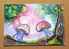 """ACEO ORIGINAL """"IN THE FOREST"""" WITH CERTIFICATE OF AUTHENTICITY"""
