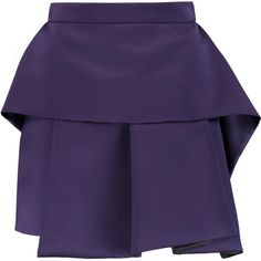 McQ Alexander McQueen Layered satin mini skirt featuring polyvore, fashion, clothing, skirts, mini skirts, dark purple, blue mini skirt, short blue skirt, blue pleated mini skirt, short skirts and short pleated skirt