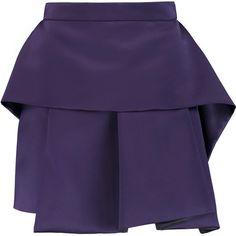 McQ Alexander McQueen Layered satin mini skirt featuring polyvore, fashion, clothing, skirts, mini skirts, dark purple, blue mini skirt, short blue skirt, blue pleated mini skirt, short skirts and short pleated skirt