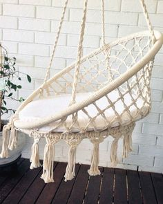 crochet hanging chair bohemian boho chic chair home by azulbereber
