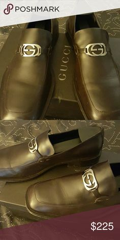 gucci dress shoes brown. authentic men\u0027s gucci shoes used 9.5 dress shoes. there is ware from use. comes with two bags and nordstrom rack aromatic s\u2026 brown